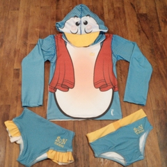 Blusa UV 50+ Sunga com Touca Pinguim