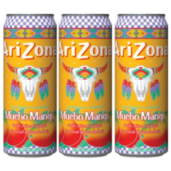 3 Lata Suco 100% Natural Arizona Mucho Mango Importado 340ml