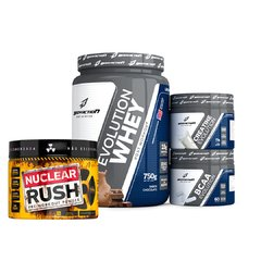 Kit Evolution Whey + Bcaa + Creatina + Pré Treino Nuclear Rush na internet