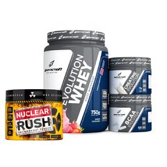 Kit Evolution Whey + Bcaa + Creatina + Pré Treino Nuclear Rush - Bodyaction
