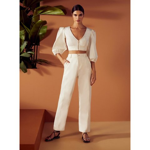 Conjunto Calça Clochard Cropped Manga Bufante Off White S Club Skazi