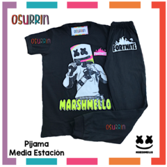 Pijama media estación Marshmello Remera manga corta + Pantalón largo