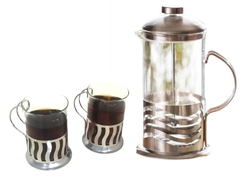 Cafetera Francesa Embolo 600 Ml + 2 Mugs Vidrio Acero 200 Ml