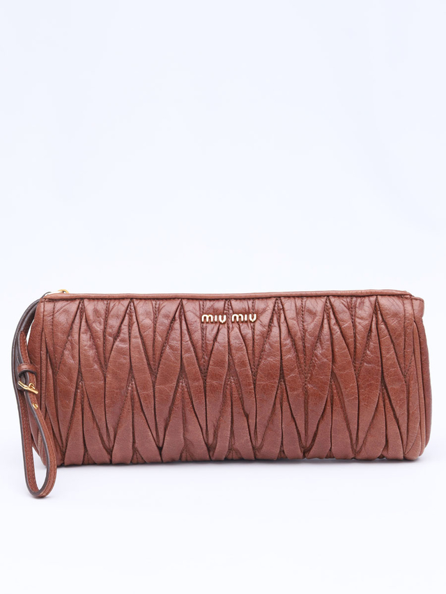 Clutch Miu Miu Matelasse Vitelo Brown