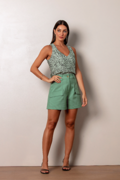 Regata Cropped Estampa Poá Animal Verde - comprar online