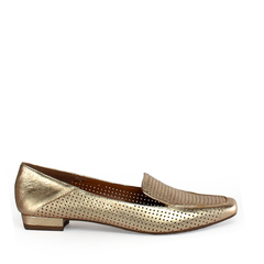 Sapatilha Loafer Laser Couro Metalizado Ouro