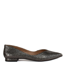 Sapatilha V Cut Couro Sparkle Pewter