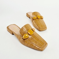 Mule Loafer Rocks Croco Mostarda