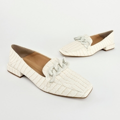 Sapatilha Loafer Corrente Croco Off White
