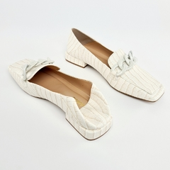 Sapatilha Loafer Corrente Croco Off White na internet