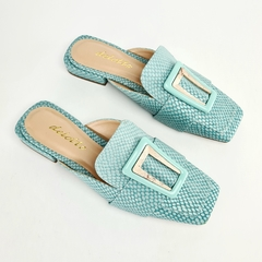 Mule Loafer Molduras Couro Serpente Mint