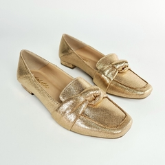 Sapatilha Loafer Nó Metalizatto Bronze