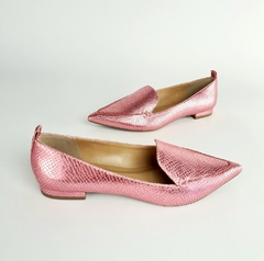 Sapatilha Delotto Loafer Snake Metal Rosa Claro