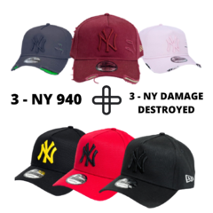 KIT 3 BONÉS NEW YORK YANKEES 940 + 3 BONÉS NEW YORK 940 DAMAGE DESTROYED - NEW ERA