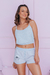 Baby Doll Cropped Azul na internet