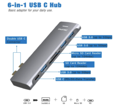 USB C Hub Adapter for MacBook Pro 2020/2019/2018/2017/2016, MacBook Air 2020-2018 with Type C to 100W PD Charging, 3 USB 3.0 Port, SD and Micro SD Card Reader - MonacoMac
