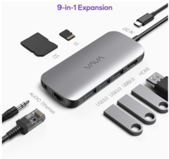 Imagem do VAVA USB C Hub, 9-in-1 USB C Adapter with Ethernet Port, PD Power Delivery, 4K USB C to HDMI, USB 3.0 Ports, SD/TF Cards Reader for MacBook/Pro/Air and Type C