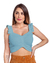 Top Cropped Tricot Vanessa Modal Babados Harmonia Tricô Azul