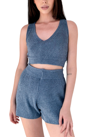 Top tricot canelado mousse BLUE na internet