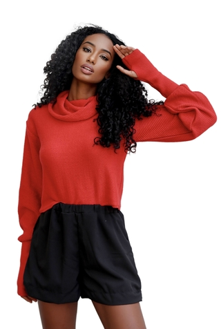 Tricot cropped oversize VERMELHO