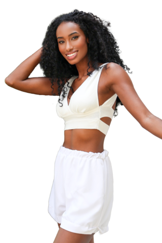 Top tricot decotado rayon branco