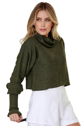 Tricot cropped oversize VERDE MILITAR