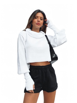 Tricot cropped oversize BRANCO