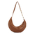 Light Brown Banana Handbag with handmade strip in metal and onix stone (copia) - buy online