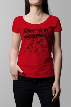 Remera Sonic Youth confusion is sex roja mujer