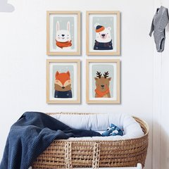 Winter Animals Gris - Láminas - comprar online