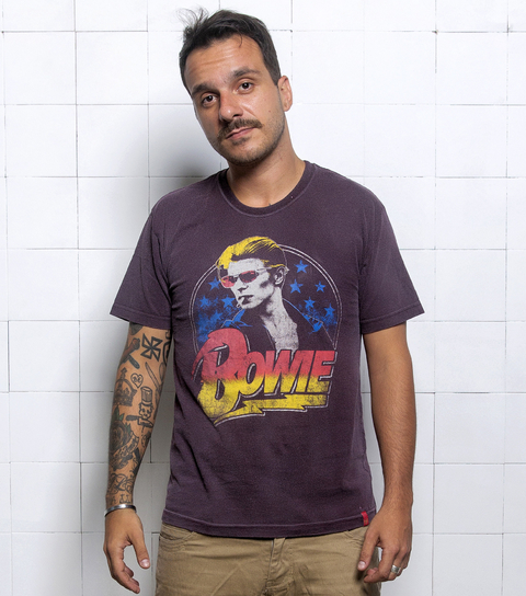 Camiseta VSR David Bowie Smoking Vinho Vintage