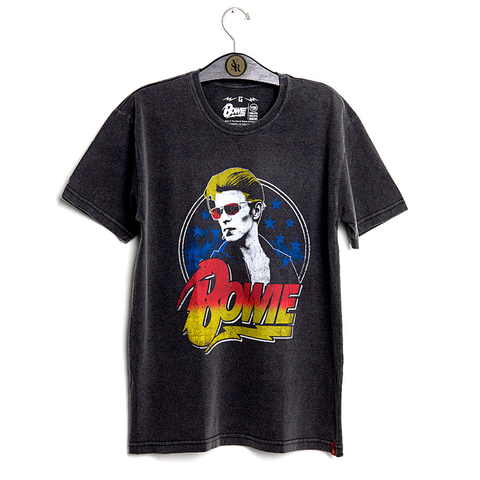 Camiseta VSR David Bowie Smoking Preto Estonado