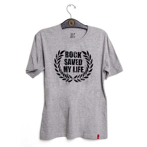 Camiseta VSR Rock Saved My Life Cinza Mescla Vintage