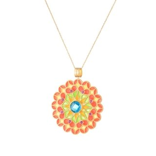 Green Citric Sun Mandala Pendant