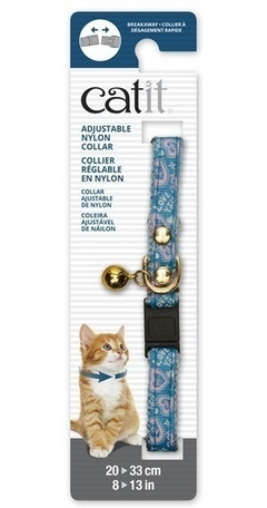 Collar Para Gatos Cat It Ajustable Azul Con Detalles