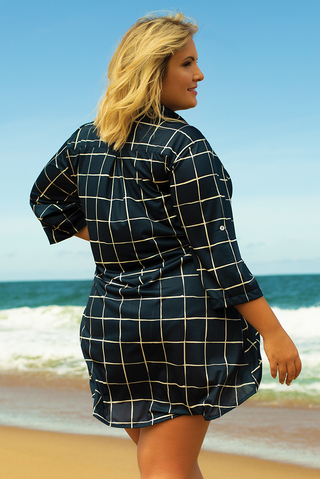 camisa plus size grid azul 606221 maryssil