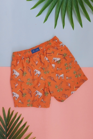 shorts infantil laranja animais 4069 mer bleu resort wear