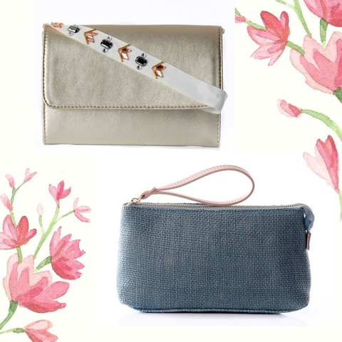 Duo Clutch Amor Ouro + Necessaire Azul