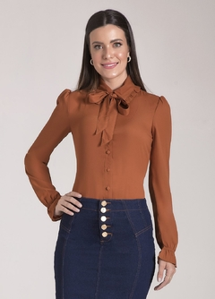 Camisa Crepe Ocre