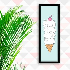 Poster Cat Ice Cream Blue