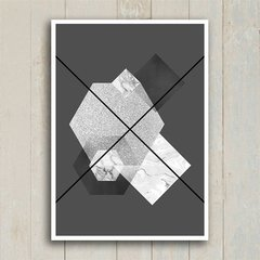 Poster Abstrato Geometric Grey - Encadreé Posters