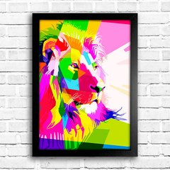 Poster Geometric Lion Color - comprar online
