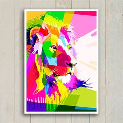 Poster Geometric Lion Color - Encadreé Posters