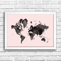 Poster Mapa mundi Watercolor Rosa na internet