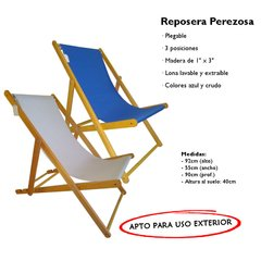 Set 2 Reposeras Madera Lona Plegable Para Pileta Playa Patio - comprar online