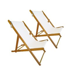 Set 2 Reposeras Madera Lona Plegable Para Pileta Playa Patio en internet