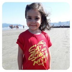 CAMISETA INFANTIL PRAIA - SALT IN THE AIR, SAND IN MY HAIR na internet