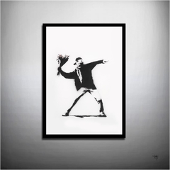 POSTER QUADRO DECORAÇÃO ARTE BANKSY - LOVE IS IN THE AIR FLOWER THROWER