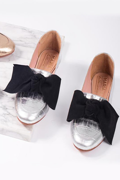 Mocasin Polly Plata Super Bow (Desmontable)