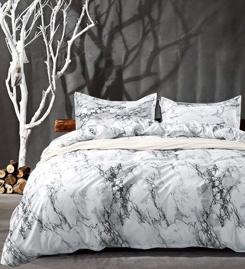 Duvet cover white marble - King